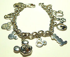 JCM WALK DISNEY PACKED STERLING SILVER MICKEY MINNIE MOUSE CABLE CHARM BRACELET