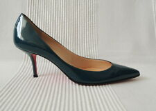 CHRISTIAN LOUBOUTIN Teal green patent leather 60mm kitten heel pumps shoes 38 5