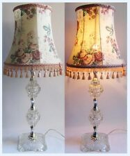 Large Vintage 50's 60's Glass Table Lamp Boudoir Light & Pink Floral Shade 75cm