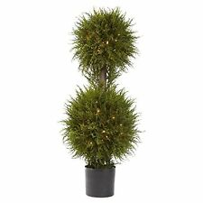 Nearly Natural 5916 40 in. Cedar Double Ball Pre-lit Topiary - Clear Lights NEW