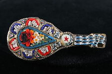 ANTIQUE VINTAGE MANDOLIN BROOCH W/ MOSAIC TILES FASHION 3616