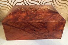 Beautiful Burr Walnut Stationary Box With Mother Of Pearl Inlay & Lift Out Tray