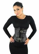 NEW BLACK LEATHER STEAMPUNK GOTH STEEL BONED UNDERBUST CORSET 26""