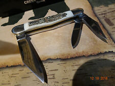"BUCK CREEK 3 1/2"" CLOSED STAG HANDLE WHITTLER HAND MADE IN GERMANY 1095 S.S."