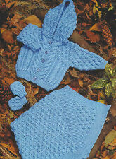 "Baby/childs Aran Jacket  Blanket  Mittens 16-24"" Knitting Pattern 432"