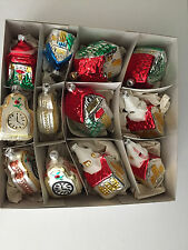 12 Blown Glass Ornaments Churches and Clocks Made in Germany, EUC