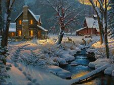 Light-up Winter Snow Log Cabin & Deer LED Lighted Wall Canvas Picture