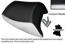 BLACK & WHITE CUSTOM FITS SUZUKI GSF 1250 07-12 BANDIT REAR LEATHER SEAT COVER