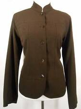 Beautiful Women's Size 1 Chico's Brown Band Collar Fitted Lined LS Button Jacket