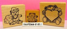 L@@K Lot of (3) USED Teddy Bear RUBBER STAMPS Cute HAWAIIAN CHRISTMAS Baby HEART