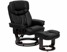 Deluxe Contemporary Leather Recliner Chair Ottoman Swiveling Wood Base Black NEW