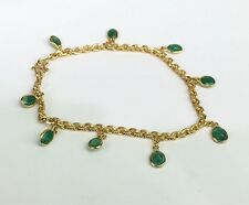 14k Solid Yellow Gold Link Charms Bracelet, Natural Emerald 7 Inches, 2TCW