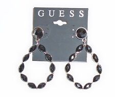 NEW GUESS BLACK CRYSTAL RHINESTONE+SILVER TONE TEARDROP STUD EARRINGS