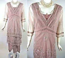 2101 Romantic Nataya Titanic Victorian Dress Vintage Pink XL Titanic Downton Abb
