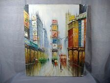 Modern Impressionist Cityscape Oil Painting Times Square New York City Vintage
