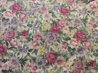 1 3/4 YARDS OF VINTAGE PINK & PURPLE FLORAL PRINT COTTON FABRIC