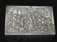 Antique China Chinese Snuff Silver Box 19 Century Engraved Handmade Silver Bar