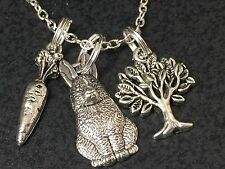 "Easter Rabbits & Carrots Charm Tibetan Silver 18"" Necklace"
