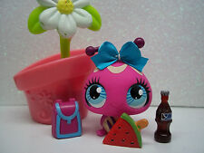 LPS LITTLEST PET SHOP HOT PINK LADYBUG #3287 RARE FOOD BOW FLOWER ACCESSORIES