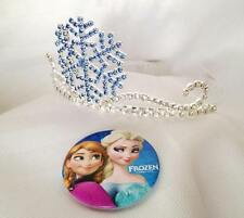 Blue Rhinestone Snowflake Tiara Metal Costume Accessory with Frozen Elsa Badge