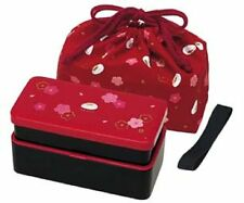 2 TIER RABBIT & PLUM BLOSSOMS LUNCH BOX WITH RICE BALL MOLD AND LUNCH BAG 640ML