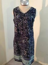 Susquehanna Trail Outfitters STO dress L large blue floral knee length cotton