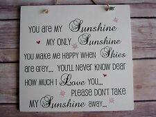 """shabby chic wall plaque """"You Are My Sunshine"""" song Lyrics . Distressed Look"""