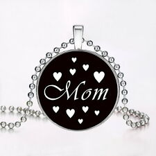 "Vogue Punk Style ""Heart Mom "" Glow in the Dark Stainless Steel Necklace Pendant"