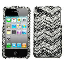 For Apple iPhone 4 4S Crystal Diamond BLING Hard Case Snap Phone Cover Zig Zag