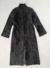 Black Reversible Broadtail Sheepskin Karakul Astrakhan Long Fur Coat Sz. 8-10