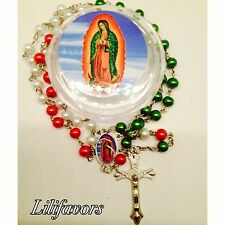 Rosary Green, Red, White Plastic Beads Virgin Mary Necklace Crucifix Catholic