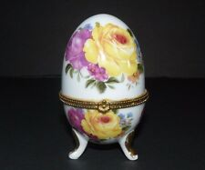 White Porcelain Egg Trinket Pill Jewelry Box Gold Trim Colorful Floral  3.75""