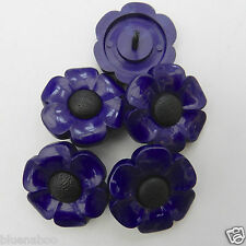 5 x Purple & black big flower buttons 27mm shank on back for sewing, craft