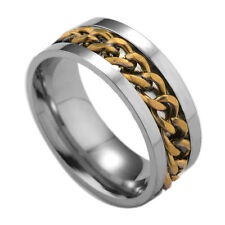 New Fashion Woman Girl Boy Man 316L Stainless Steel Gold Chain Ring Size:9