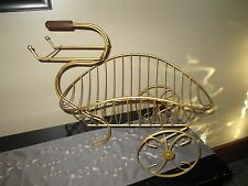 Vintage-Garden Planter  metal Plant Stand CART WITH WHEELS GOLD TONE