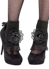 Womens Gothic Vampire Black Lace Spats