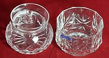 Beautiful Set of Two Luminarc Small Cut Glass / Crystal Pickle Bowls