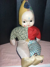 "STUFFED DOLL ""VINTAGE"" CLOTH BODY W/PLASTIC FACE VERY OLD MADE W/OLD MATERIAL CL"