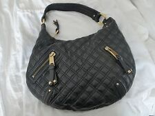 MARC JACOBS BLACK QUILTED BANANA HOBO GOLD SHOULDER BAG