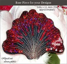 2 Red Black Hologram Sequin Feather Fan Iron on APPLIQUE MOTIF Head piece hotfix