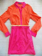 NWT bebe top SILK Dress orange pink gold belt long sleeve two tone party S small
