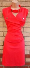 101 IDEES CHERRY RED BIKER ZIP SIDE T SHIRT BODYCON TUBE BANDAGE TEA DRESS 14 L