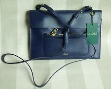 NWT Lauren Ralph Lauren Navy Tate Leather Cross Body Purse $148
