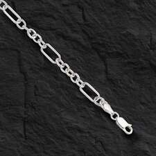 "14kt solid WHITE gold handmade Curb Link mens bracelet 8"" 9 Grams 6MM"