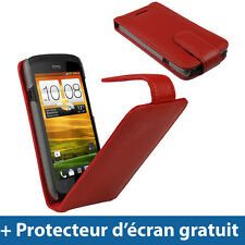 Rouge Étui Housse Flip Rabat en Cuir Case Cover HTC One S Android Smartphone 1