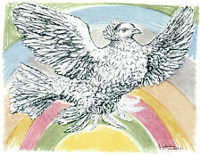 ART PRINT Flying Dove with Rainbow Background, 1952 - Pablo Picasso 11x14 Poster