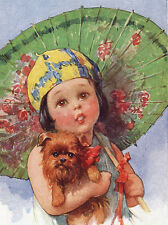 BRUSSELS GRIFFON LOVELY GREETINGS NOTE CARD LITTLE GIRL  HOLDS PARASOL AND DOG
