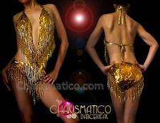 CHARISMATICO Metallic gold Halter style dancers leotard with sequins and beading