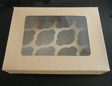 12 hole brown  cupcake box with insert holder set of 2