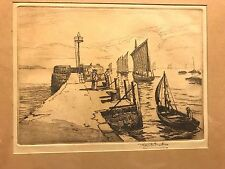 """ANTIQUE ROBERT HENRY SMITH ETCHING 'SAIL BOATS' APPROX 9""""x7"""" FRAMED"""